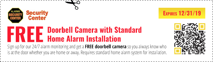 Security Center coupon for a free doorbell camera with standard home alarm installation